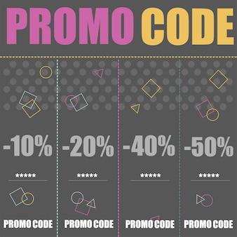 Code promo, code promo. illustration de conception de bannière de vecteur plat sur fond noir