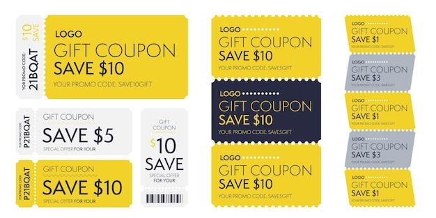 Code promotionnel de modèle de coupon cadeau offre spéciale pour économiser de l'argent. bon monétaire avec réduction en dollars et code-barres