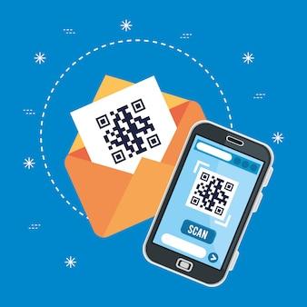 Code qr dans le smartphone et l'enveloppe