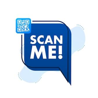 Code qr pour smartphone inscription scannez-moi avec l'icône du smartphone code qr pour le paiement