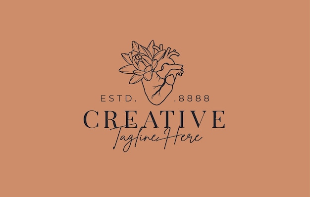 Coeur abstrait avec modèle de conception de logo de fleur