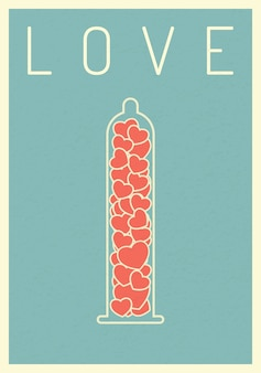 Coeur affiche rétro sur le préservatif