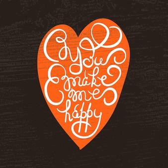 Coeur avec affiche de typographie dessinée à la main. citation romantique