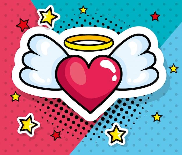 Coeur avec des ailes style pop art