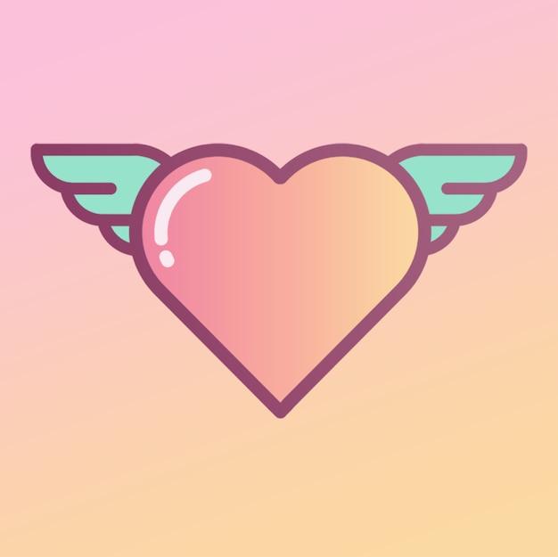 Coeur avec ailes