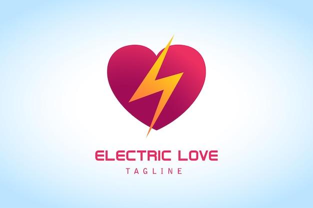 Coeur d'amour rose rouge avec logo dégradé orange éclair