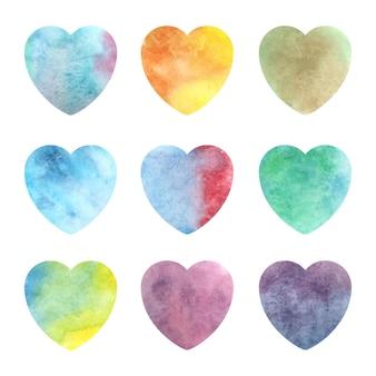 Coeur aquarelle mis illustration vectorielle isolé. célébration du modèle de conception. toile de fond romantique.