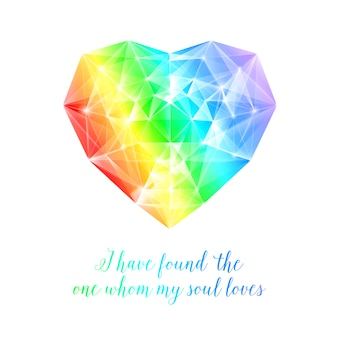 Coeur arc-en-ciel avec citation