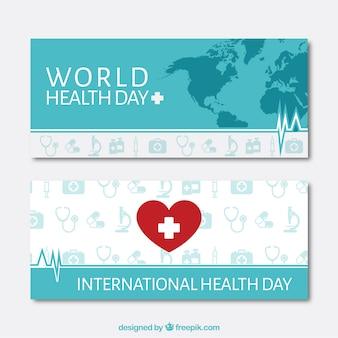 Coeur avec une croix et carte Jour Santé bannières