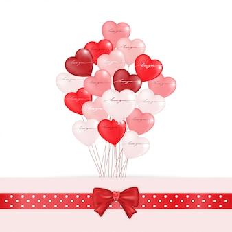 Coeur de ballon en blanc, rose et rouge