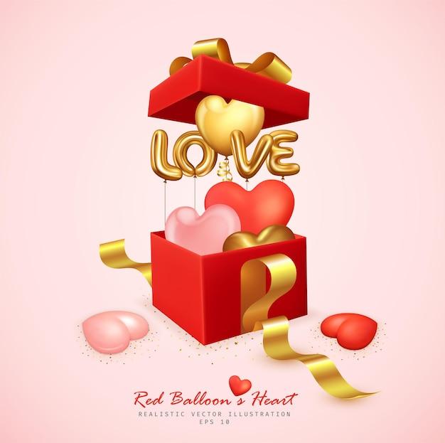 Coeur de ballons romantiques et lettre d'amour rebondissent de la boîte-cadeau
