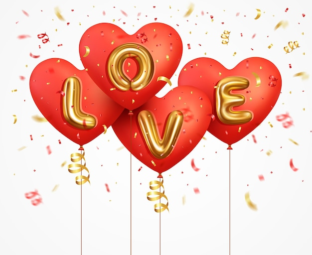 Coeur de ballons rouges avec lettrage de texte métallique or