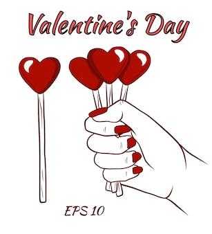Coeur sur un bâton. coeurs en main. illustration isolée en style cartoon.