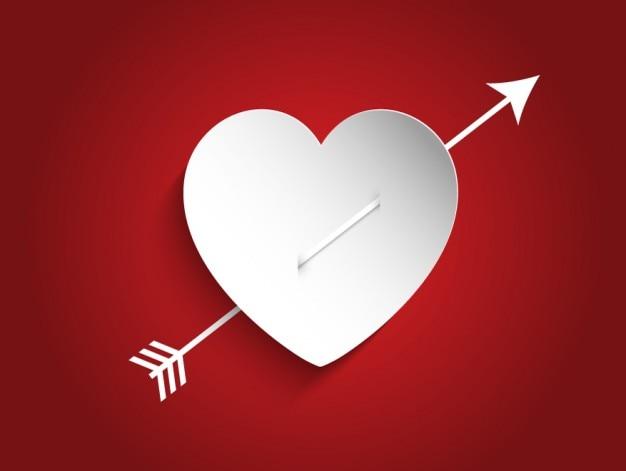 Coeur blanc avec une flèche fond