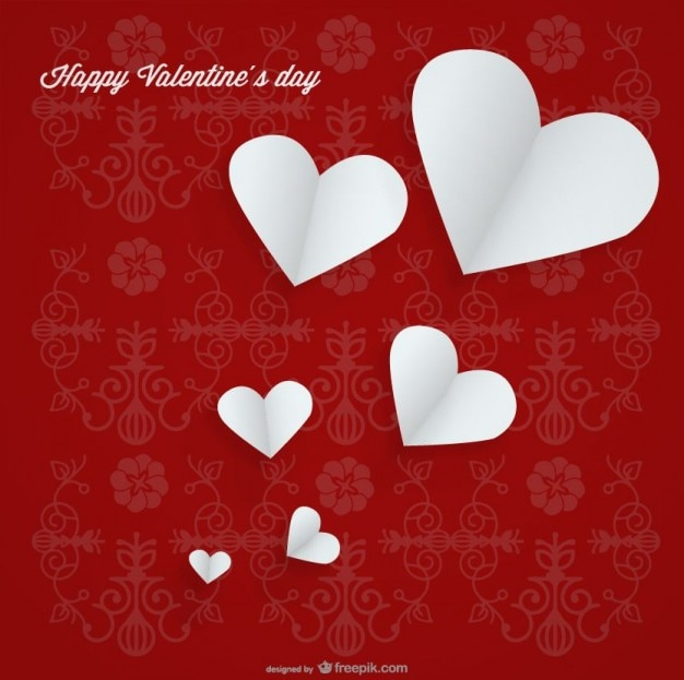 Coeur blanc sur fond rouge conception de carte de fond