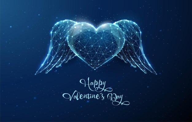 Coeur bleu abstrait avec des ailes