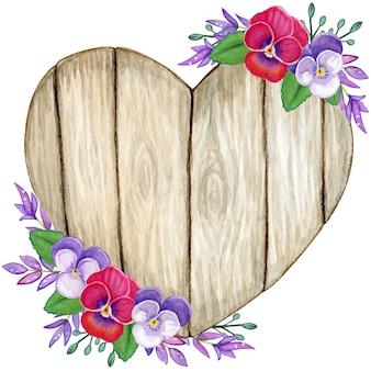 Coeur en bois aquarelle rustique avec des fleurs de pensée et des feuilles violettes