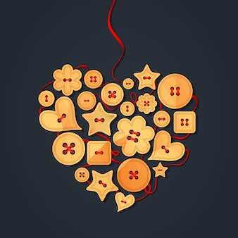 Cœur bordé de boutons en bois, cousus avec un ruban rouge. carte de voeux créative joyeuse saint valentin