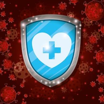 Coeur avec bouclier croisé devant le fond du virus covid 19