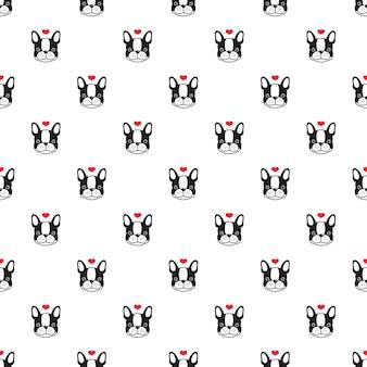 Coeur de bouledogue français modèle sans couture de chien