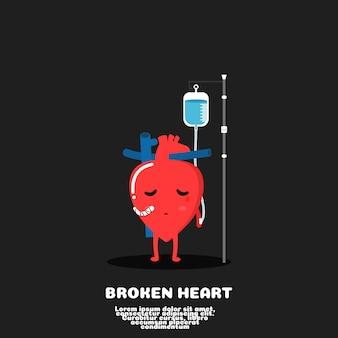 Coeur brisé dessin animé cœur de blessure concept mauvais amour