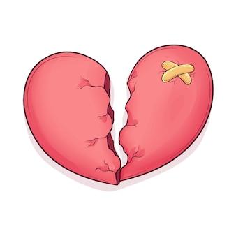 Coeur Brisé Mignon Dessinée à La Main Vecteur Premium