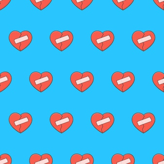 Coeur brisé avec motif sans couture de patchs sur un fond bleu. illustration vectorielle de thème romantique