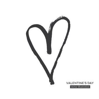Coeur de calligraphie dessiné à la main isolé sur fond blanc. illustration vectorielle.