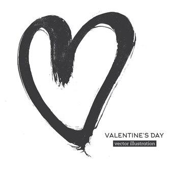 Coeur de calligraphie dessiné à la main isolé sur fond blanc.