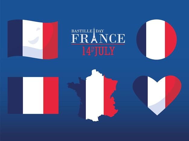 Coeur de carte de drapeau joyeux jour de la bastille