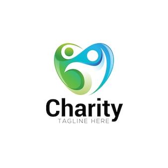 Coeur de charité sociale et logo humain abstrait