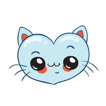 Coeur de chat kawaii