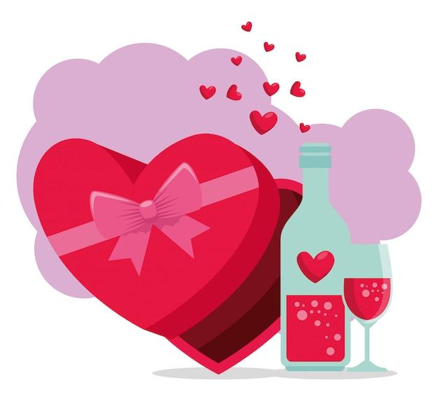 Coeur chocolat et potion d'amour à la saint valentin