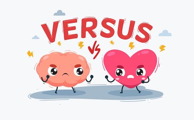 Le cœur contre le cerveau. illustration isolée