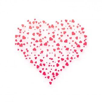 Cœur créatif composé de petits coeurs roses