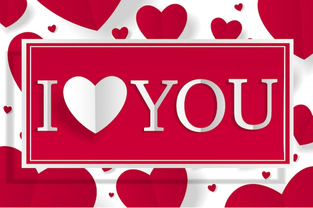 Coeur créatif en papier créatif et bannière avec lettrage je t'aime pour le fond blanc de la saint-valentin heureuse.