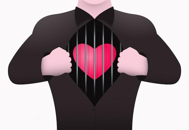Coeur dans une cage.