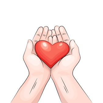 Coeur dans les mains.