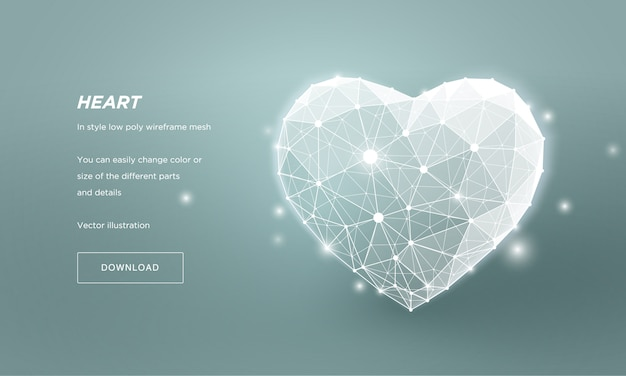 Coeur dans le style maille filaire basse poly. résumé sur fond bleu. concept amour ou médecine ou soins de santé lignes de plexus et points dans la constellation. les particules sont connectées selon une forme géométrique.