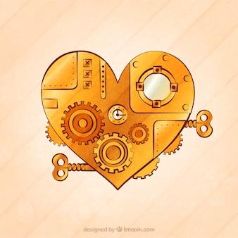 Coeur dans le style steampunk