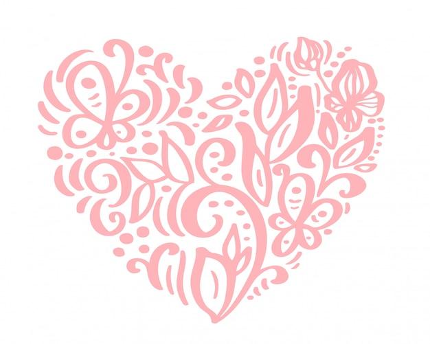 Coeur dessiné à la main amour fleurs saint valentin