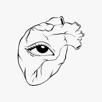 Coeur dessiné à la main avec un oeil