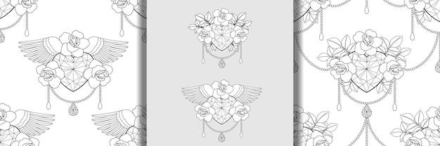 Le coeur de diamant et les roses décrivent des impressions et un ensemble de modèles sans couture