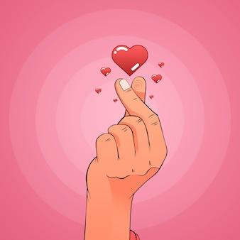 Coeur de doigt dégradé illustré