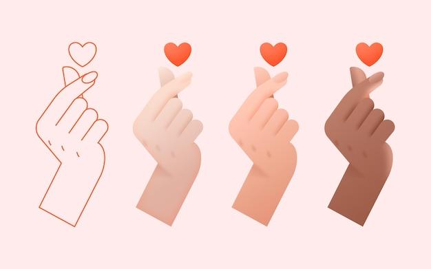 Coeur de doigt dégradé
