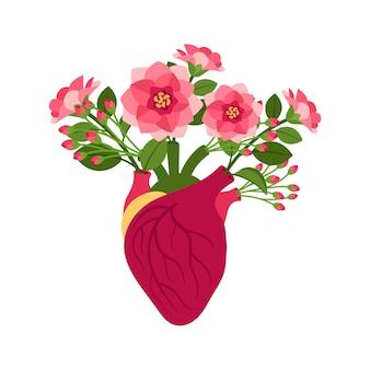 Coeur de doodle rose anatomique avec des fleurs