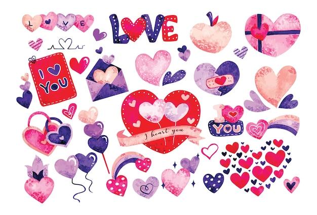 Coeur doodles aquarelle, élément de conception de la saint-valentin