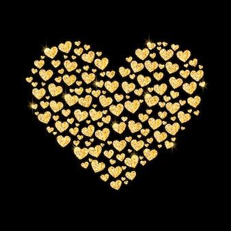 Coeur doré pailleté