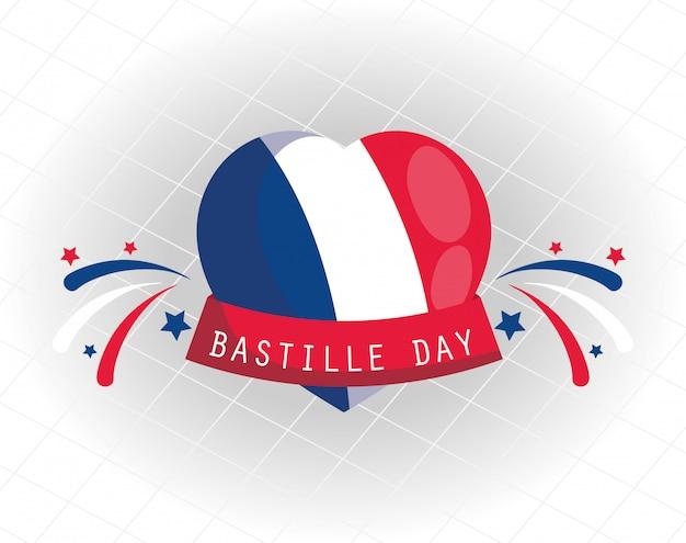 Coeur de drapeau france avec ruban de conception de jour bastille heureux