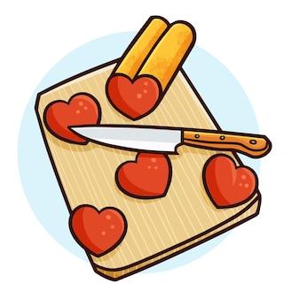 Coeur drôle étant coupé sur une planche à découper dans un style simple doodle